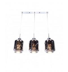 Lampada moderno di design a sospensione in 3 sfere a vetro colore Cromato Alacosmo