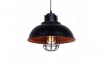 Lampada a sospensione stile industriale vintage loft di metallo colore nero centro oro antico FUKO