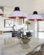 Lampada a sospensione stile industriale vintage loft di metallo colore bianco centro oro antico FUKO