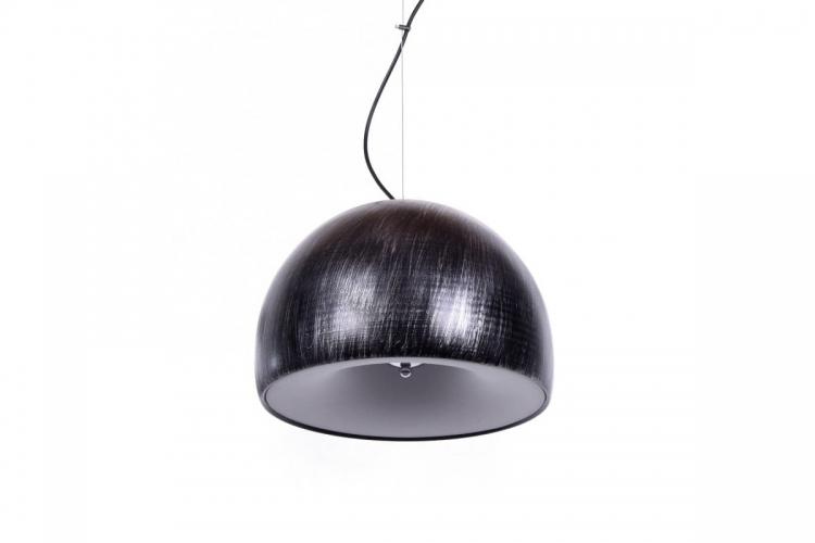 Lampada a sospensione design moderno, paralume in plastica e metallo colore nero con grigio BRIO