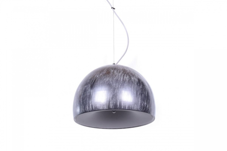 Lampada a sospensione design moderno, paralume in plastica e metallo colore argento con grigio BRIO