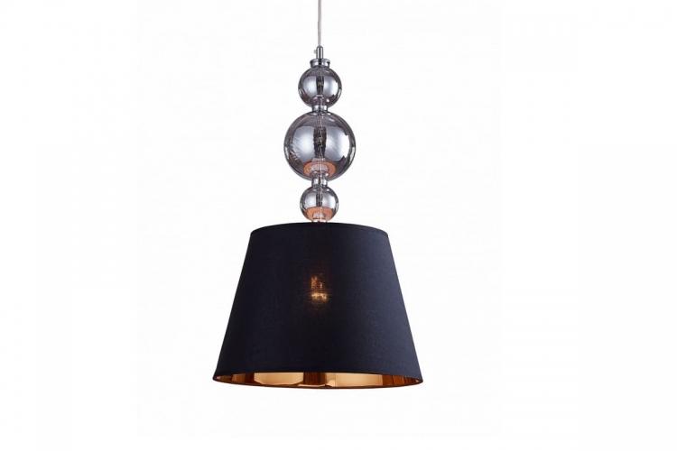 Lampadario a sospensione moderno di design in vetro e metallo, paralume in tessuto colore nero centro oro MURANEO