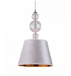 Lampadario a sospensione moderno di design in vetro e metallo, paralume in tessuto colore argento centro oro MURANEO