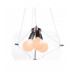 Lampadario moderno a sospensione in vetro trasparente Globo D50