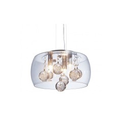 Lampadario a sospensione moderno di design in vetro trasparente e cristalli a 3 lampae led FABINA D30