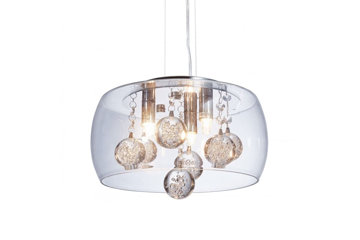 Lampadario Bianco E Cristallo : Lampadario a sospensione moderno di design vetro cristalli led fabina