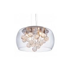 Lampadario a sospensione moderno di design in vetro trasparente e cristalli a 6 lampae led FABINA D40