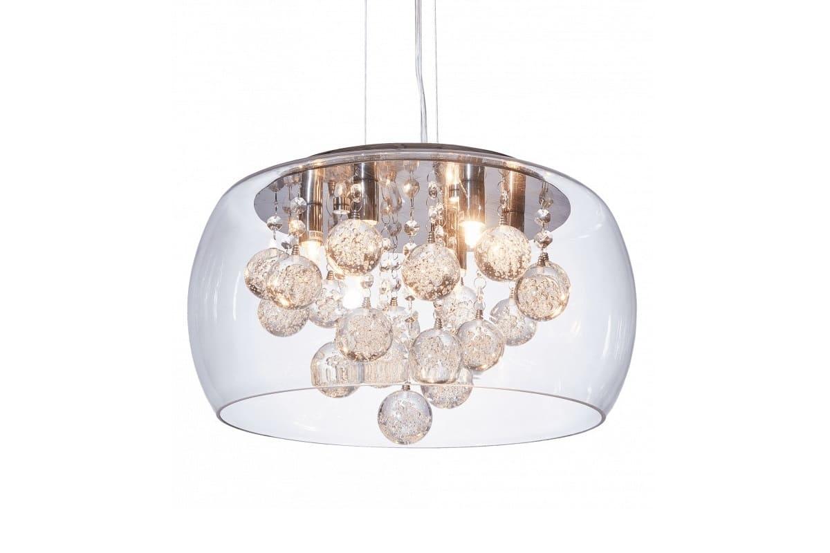 Lampadario a sospensione moderno di design vetro cristalli led fabina