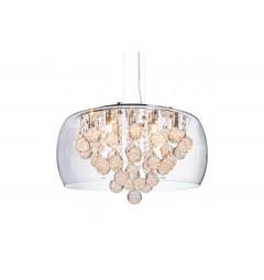 Lampadario a sospensione moderno di design in vetro trasparente e cristalli a 9 lampae led FABINA D50