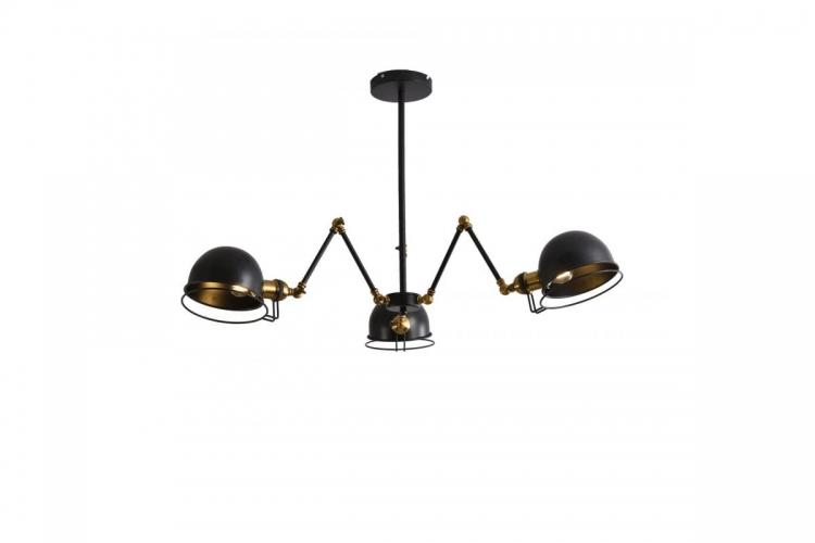 Lampada a sospensione in stile industriale vintage con 3 punti luce di metallo colore nero VALMONTI W3