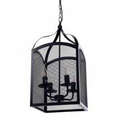 Lampada a sospensione in stile industriale vintage in gabbia con 4 punti luce di metallo colore nero MANTONE