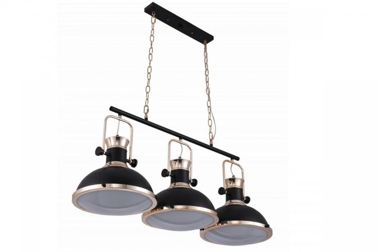 Lampadario a sospensione in stile industriale vintage loft di metallo colore nero e ottone lucido con 3 punti luce BATORE W3
