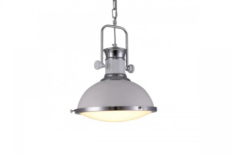Lampada a sospensione in stile industriale vintage loft di metallo colore bianco e cromato BATORE W1