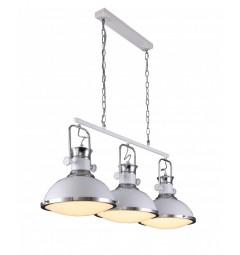 Lampadario a sospensione in stile industriale vintage loft di metallo colore bianco e cromato con 3 punti luce BATORE W3