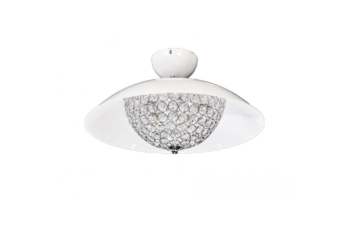Plafoniera Cristallo Led : Plafoniera a led di cristalli e metallo colore bianco mezzaluna w