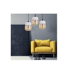 Lampada a sospensione in stile industriale vintage loft in vetro trasparente e metallo colore bianco ASTILA
