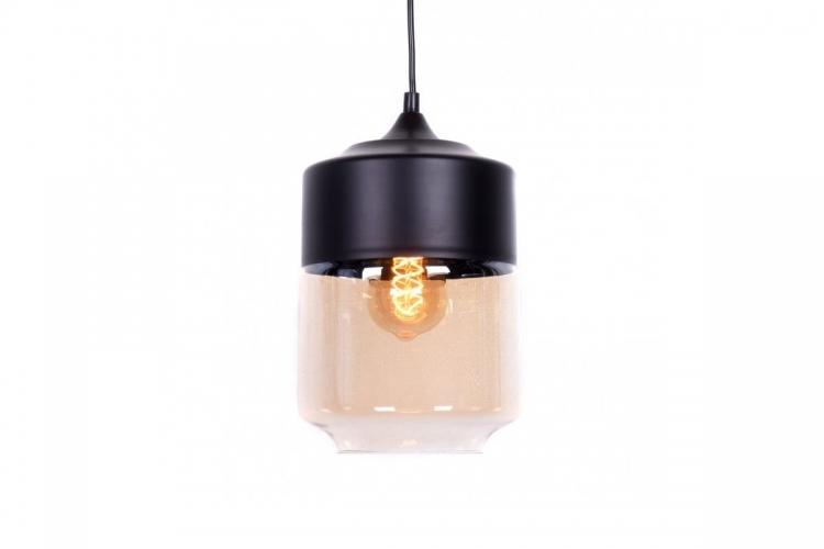 Lampada a sospensione in stile industriale vintage loft in vetro trasparente e metallo colore nero ASTILA