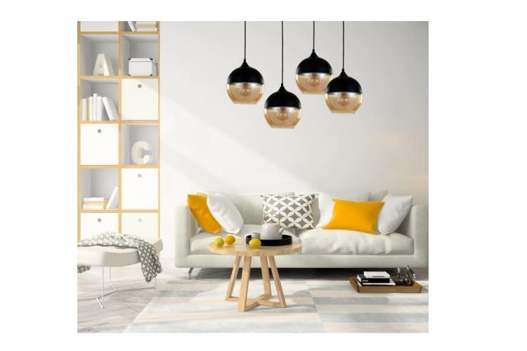Lampada a sospensione in stile industriale vintage loft in vetro trasparente e metallo colore nero ALBION