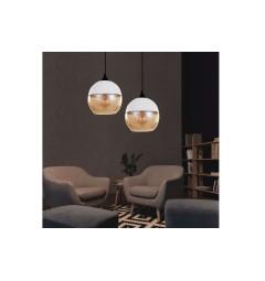 Lampada a sospensione in stile industriale vintage loft in vetro trasparente e metallo colore bianco ALBION