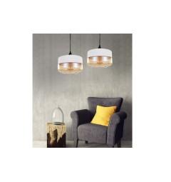 Lampada a sospensione in stile industriale vintage loft in vetro trasparente e metallo colore bianco BARLET