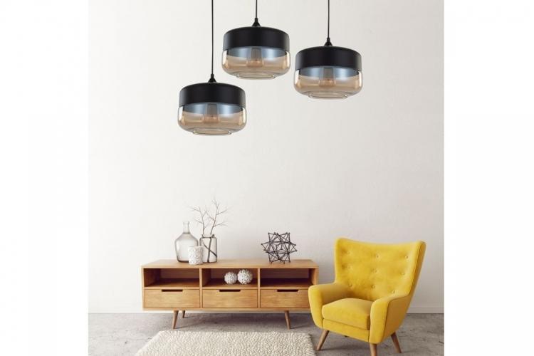 Lampada a sospensione in stile industriale vintage loft in vetro trasparente e metallo colore nero BARLET