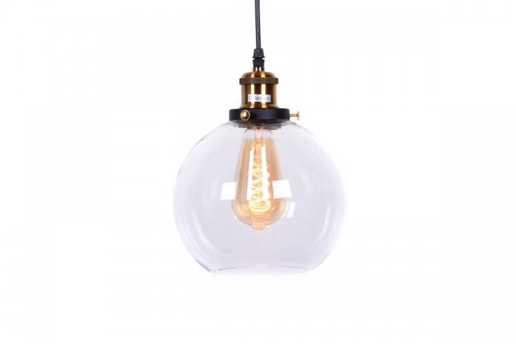 Lampada design a sospensione sfera in vetro trasparente Navarro