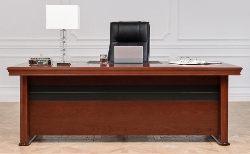 Scrivania presidenziale classica con piano lungo 220 cm in legno di noce