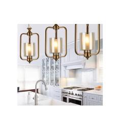 Lampadario a sospensione in stile classico vintage 1 punto luce in vetro e metallo colore ottone ATLANTA W1