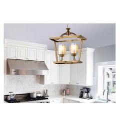 Lampadario a sospensione in stile classico vintage 2 punti luce in vetro e metallo colore ottone ATLANTA W2