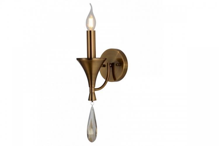 Applique lampada da parete in stile classico vintage 1 punto luce in metallo colore ottone e cristallo LIBERO W1
