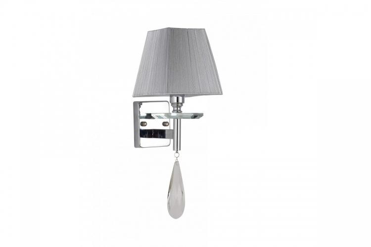 Applique lampada da parete in stile classico di metallo cromato e cristalli con paralume grigio VALENTINA W1