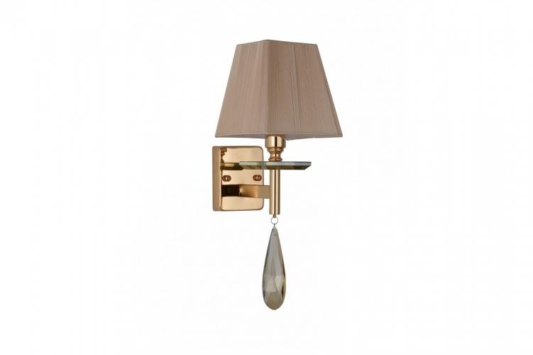 Applique lampada da parete in stile classico di metallo colore oro e cristalli con paralume crema VALENTINA W1