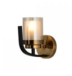 Applique lampada da parete in stile industriale vintage di metallo colore nero e ottone BONTON W1