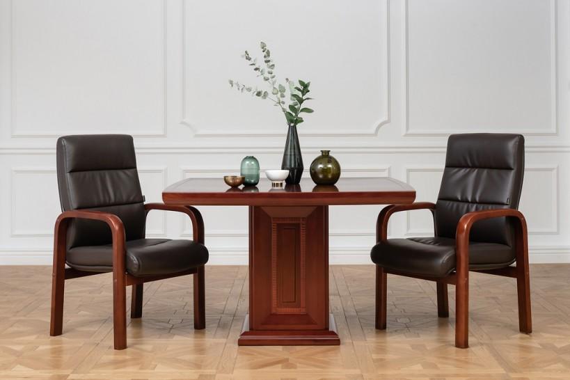 Tavolo quadrato da conferenza, riunione o coworking in stile classico per ufficio o studio professionale PRESTIGE G610 da 120 cm