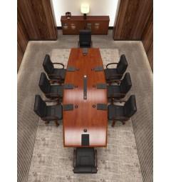 Arredo completo per sala riunione con tavolo riunione 8/10 posti, sedie e armadietti.