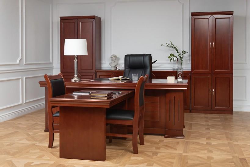 Completo ufficio PRESTIGE B610 in stile classico con scrivania 2 Metri +  Scrivania bassa in aggiunta