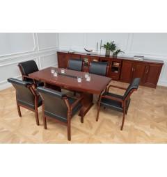 Arredo completo per sala riunione con tavolo riunione 6 posti, sedie e armadietti.