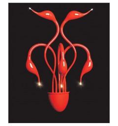 Applique lampada da parete da muro stile moderno di design in metallo colore rosso Magica W5