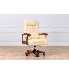 Sedia direzionale ufficio in pelle beige Prestige