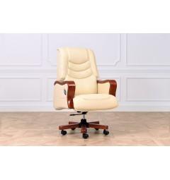 Sedia poltrona ufficio presidenziale in pelle beige President