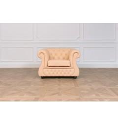 poltrona classico capitonne chesterfield per ufficio studio casa salotto anticamera rivestita in pelle chester lux beige