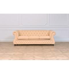 divano a 3 posti classico capitonne chesterfield per ufficio studio casa salotto anticamera rivestita in pelle chester lux beige