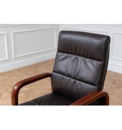 Sedia da sala riunione Progress in legno e vera pelle Marrone