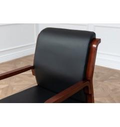 Sedia da sala riunione Meeting in legno e eco pelle Nero