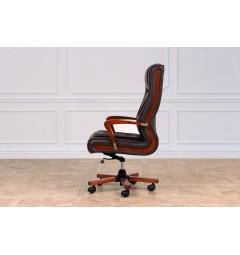 Poltrona per scrivania in pelle marrone Ambassador