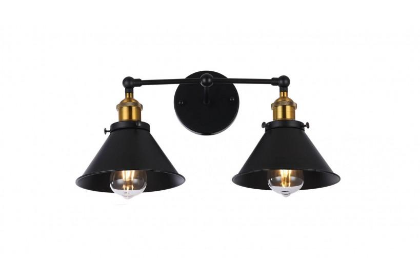 Applique lampada da parete da muro Stile Industriale vintage in metallo colore nero GUBI DUO