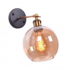 Applique lampada da parete da muro stile industriale design vintage in vetro a sfera colore ambra Navarro