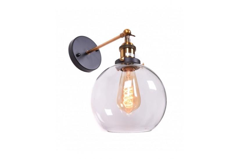 Applique lampada da parete da muro in stile industriale design vintage in vetro a sfera Navarro