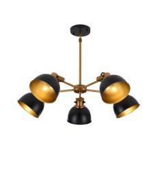 Lampada a sospensione in stile industriale vintage con 5 punti luce di metallo colore nero BELMONTI W5