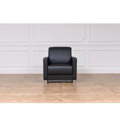 poltrone moderna classico per ufficio o studio casa salotto struttura in acciaio rivestita in eco pelle helios nero
